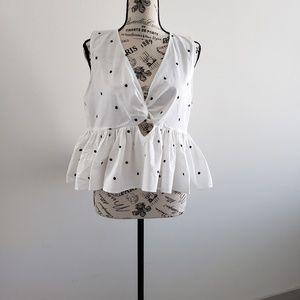 Zara polka dot peplum blouse